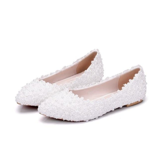 White Lace Pearls Pointed Toes Wedding Flats | Bridelily - B / 34 - wedding flats