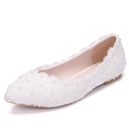 White Lace Pearls Pointed Toes Wedding Flats | Bridelily - wedding flats
