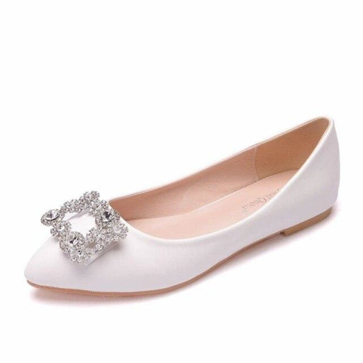 White Lace Rhinestone Wedding Flats | Bridelily - white / 34 - wedding flats