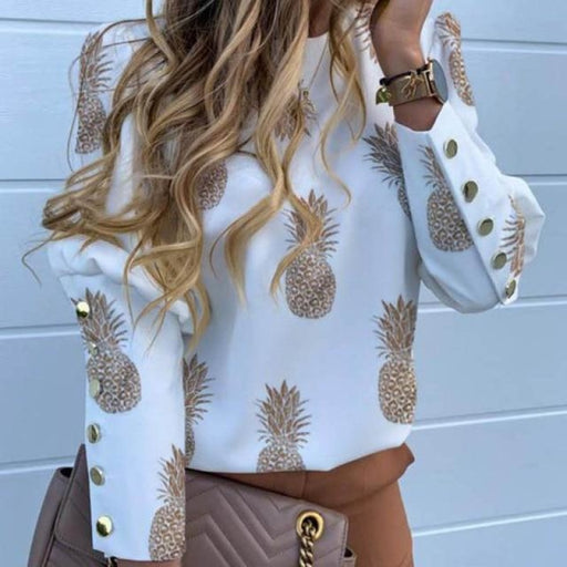 White Long Sleeve Blouses Pineapple Blouse Womens Shirt - ST19251-pineapple / S - blouses