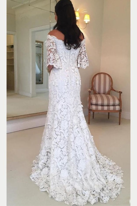 White Off the Shoulder Half Sleeves Sweep Train Lace Wedding Dress - Wedding Dresses