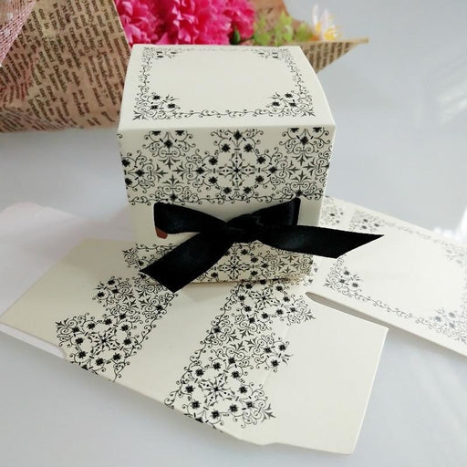White Paper With Black Ribbon Favor Holders | Bridelily - favor holders