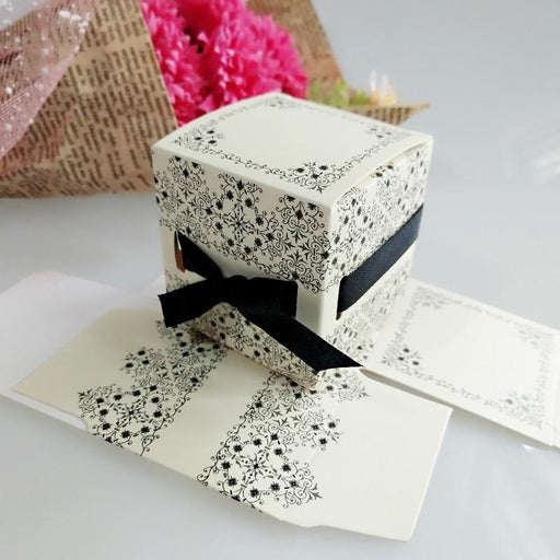 White Paper With Black Ribbon Favor Holders | Bridelily - 50Pcs - favor holders