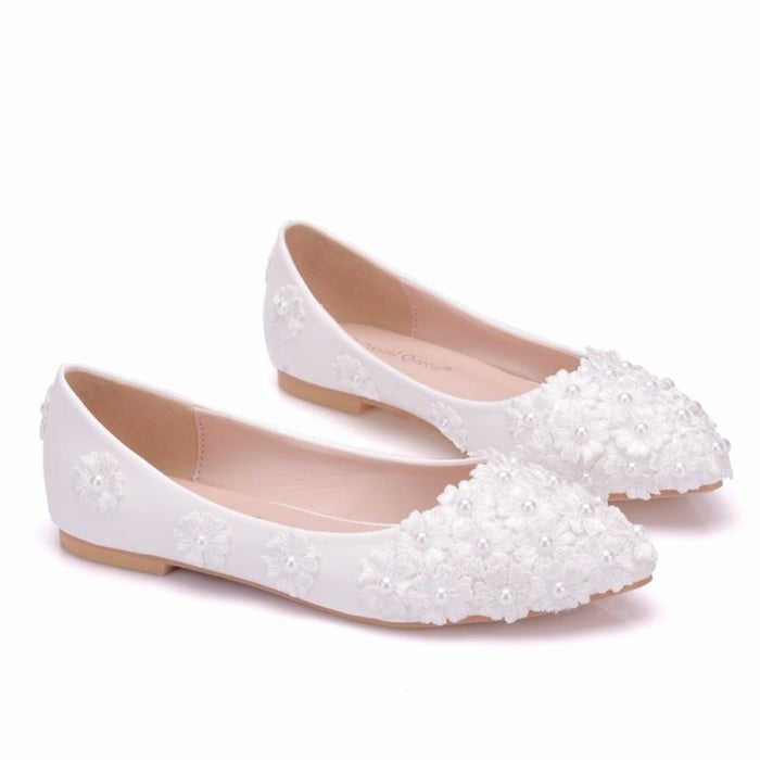 White Pearl Lace Pointed Toe Wedding Flats | Bridelily - wedding flats