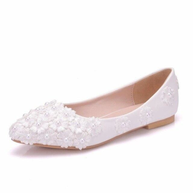 White Pearl Lace Pointed Toe Wedding Flats | Bridelily - white / 34 - wedding flats