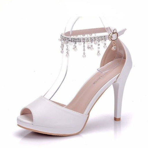 White Pearls High Heel Wedding Sandals | Bridelily - white / 34 - wedding sandals