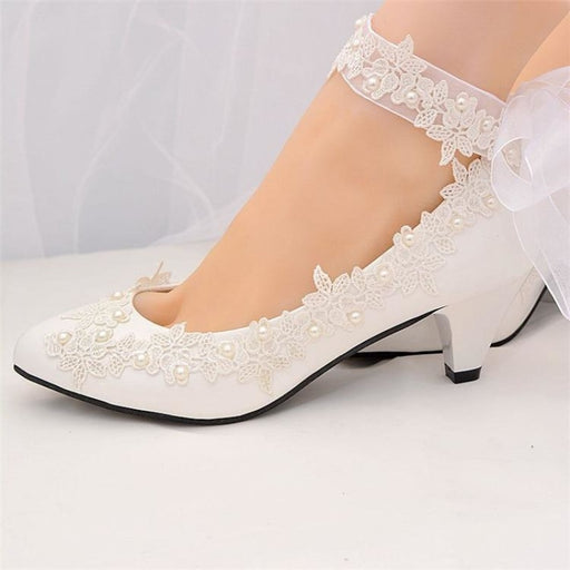 White Pearls High Heels Wedding Pumps | Bridelily - wedding pumps