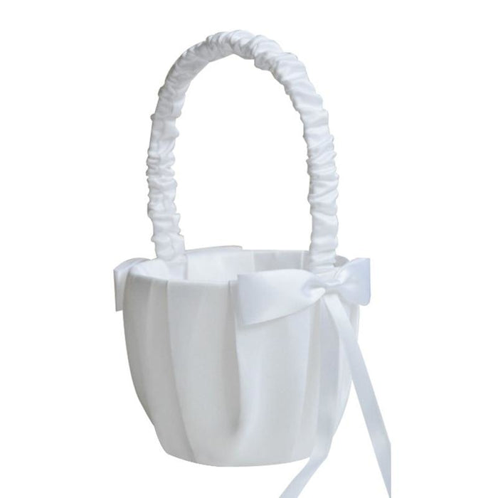 White Satin Wedding Ceremony Party Flower Baskets | Bridelily - flower baskets