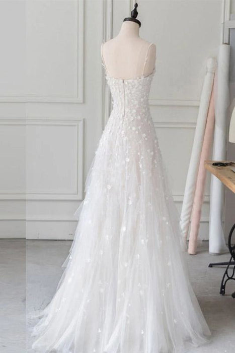 White Spaghetti Straps Lace Tulle Evening Floor Length Prom Dress with Beads - Prom Dresses