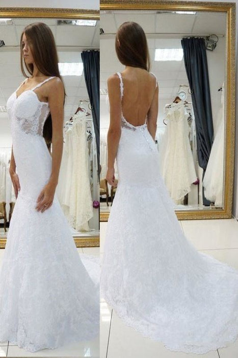 White Straps Open Back Lace Sexy Sweetheart Customized Wedding Dress - Wedding Dresses
