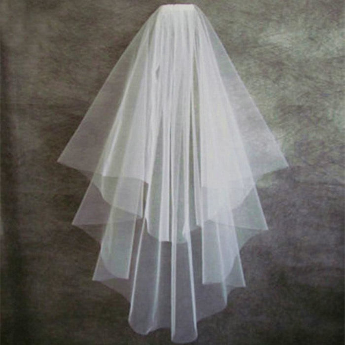 White Veil Short Tulle With Comb Wedding Veils | Bridelily - wedding veils