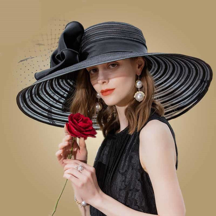 Wide Brim Bowknot Feather Kentucky Derby Hats | Bridelily - Black Fedora - kentucky derby hats