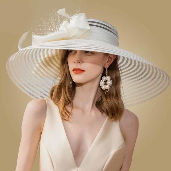Wide Brim Bowknot Feather Kentucky Derby Hats | Bridelily - White Fedora - kentucky derby hats