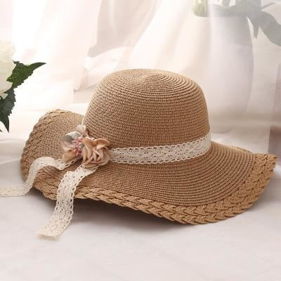 Wide Brim Straw With Flower Lace Beach/Sun Hats | Bridelily - beach/sun hats