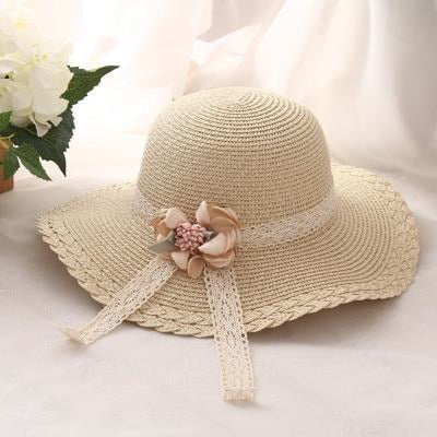 Wide Brim Straw With Flower Lace Beach/Sun Hats | Bridelily - Beige - beach/sun hats
