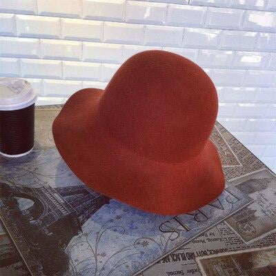 Wide Brim Wool Felt Bowler Dome Bowler/Cloche Hats | Bridelily - Rust red - bowler/cloche hats