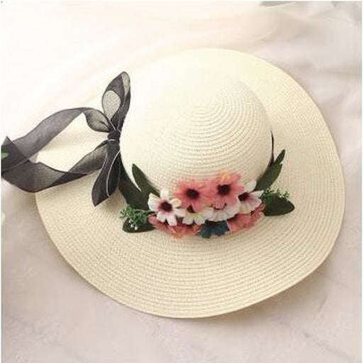 Wide-Brimmed Straw Flower Bow Beach/Sun Hats | Bridelily - 5 - beach/sun hats