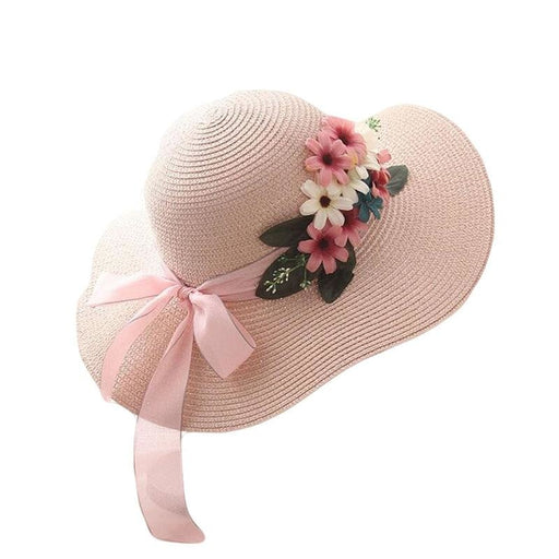 Wide-Brimmed Straw Flower Bow Beach/Sun Hats | Bridelily - beach/sun hats