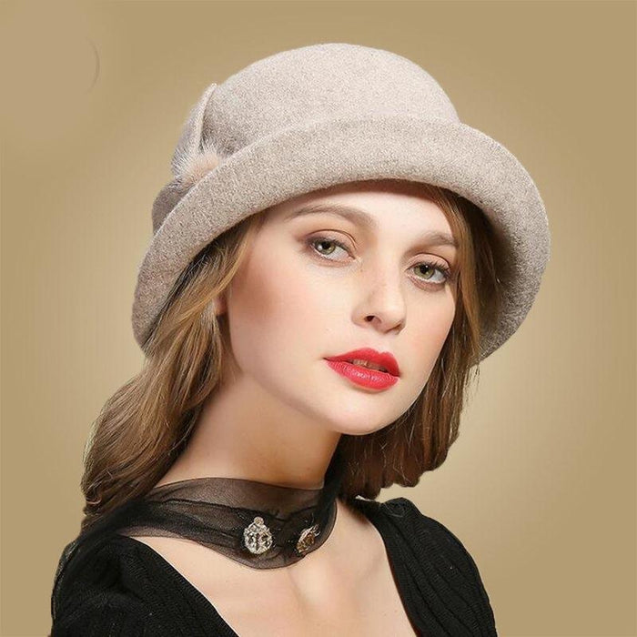 Wing Wide Felt Bowler Sun Belt Bowler/Cloche Hats | Bridelily - Khaki Wool Hat - bowler /cloche hats