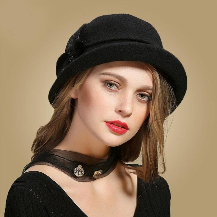 Wing Wide Felt Bowler Sun Belt Bowler/Cloche Hats | Bridelily - Black Wool Hat - bowler /cloche hats