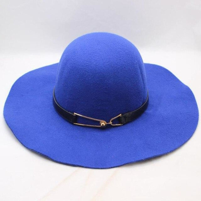 Wing Wide Felt Bowler Sun Belt Floppy Hats | Bridelily - Royal blue / 56cm-58cm - floppy hats
