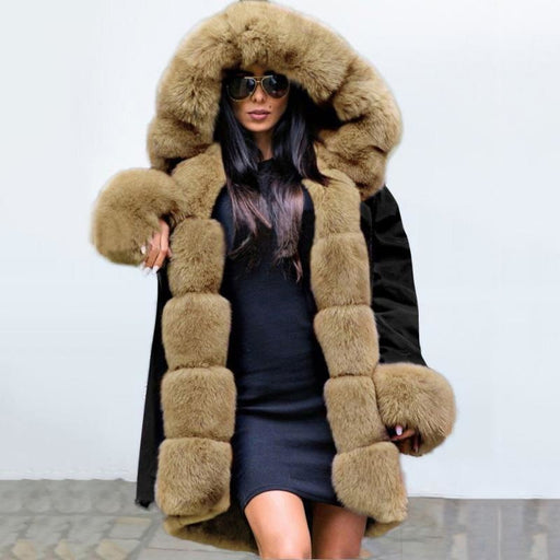 Winter Black Faux Fur-trimmed Long-length Overcoat - Taupe / S - womens furs & leathers