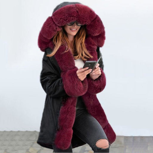 Winter Black Faux Fur-trimmed Long-length Overcoat - Burgundy / S - womens furs & leathers