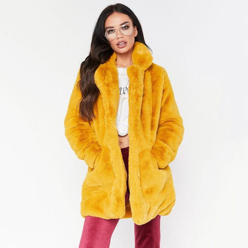 Winter Daily Regular Stand Long Faux Fur Coats - womens furs & leathers