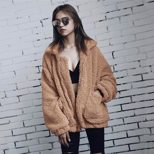 Winter Fashion Going out Basic Regular Faux Fur Coat - Camel / S - womens furs & leathers