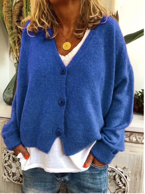 Winter Knitted Wool Blend Long Sleeve Sweater V-neck Button Coat - sweaters