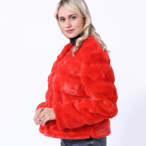 Winter Red Womens Winter Short Fur Coat - womens furs & leathers