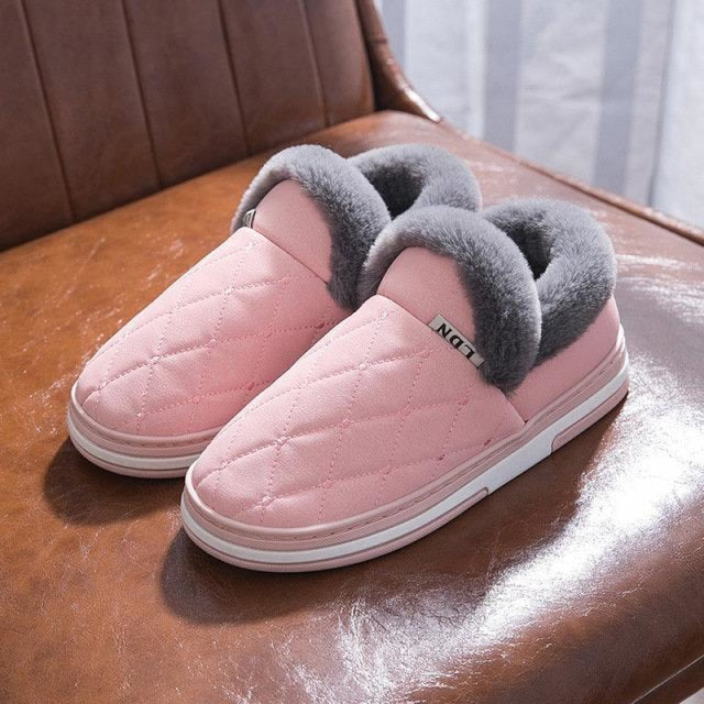 Winter Stitching Slip On Women Indoor Home Shoes - Light Pink / US 6 - home shoes