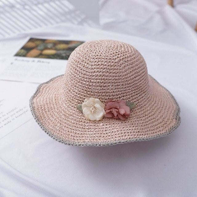 With String Flower Wide Brim Hollow Floppy Hats | Bridelily - Flesh pink - straw hats
