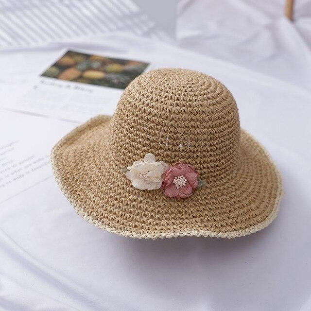 With String Flower Wide Brim Hollow Floppy Hats | Bridelily - light coffee - straw hats