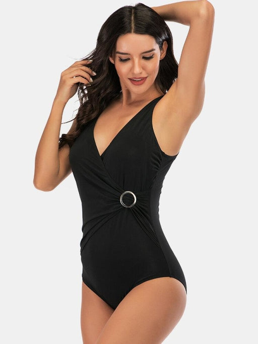 Women Black Swimwear Ring Ruffled Shaped One Piece - Plus Size One Piece