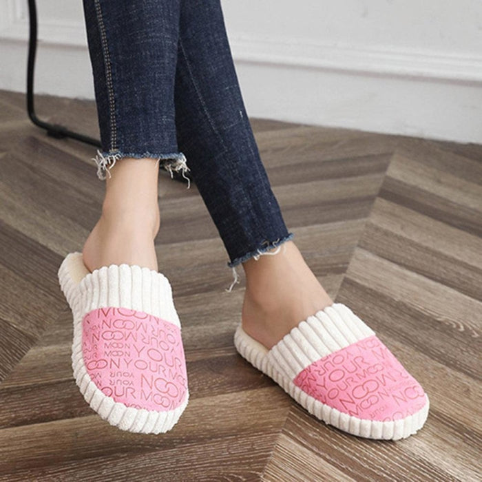 Women Casual Indoor Lightweight Non Slip Warm Lined Slippers - home shoes
