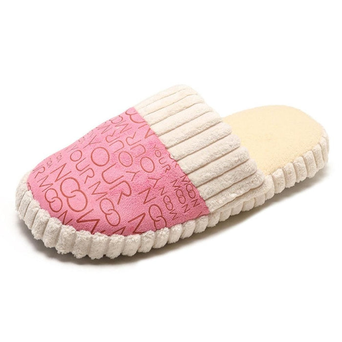 Women Casual Indoor Lightweight Non Slip Warm Lined Slippers - Pink / US 5 - home shoes