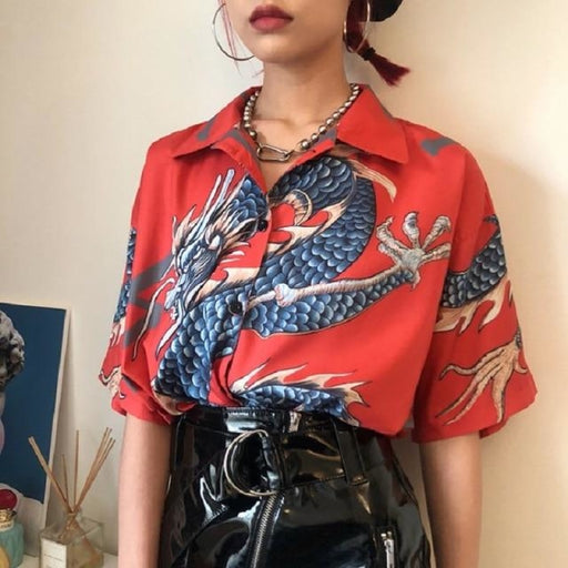 Women Dragon Print Short Sleeve Blouses - red / One Size - blouses