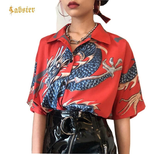 Women Dragon Print Short Sleeve Blouses - blouses