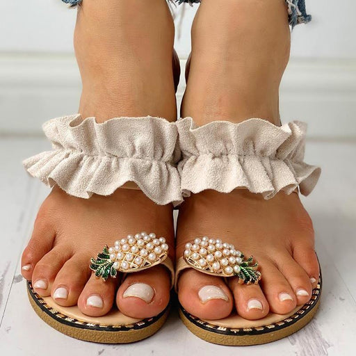 Women Flats Slippers Summer Casual Flip Flops Flowers Pearl Woman Flat Shoes 35-43 plus size Comfortable Female Beach Sandals - house