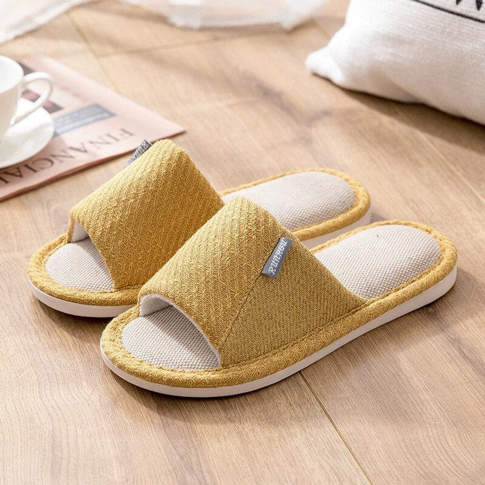 Women House Solid Color Flats Home Slippers - Yellow / US 5 - home shoes