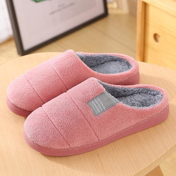Women House Solid Color Fur Flats Home Slippers - home shoes