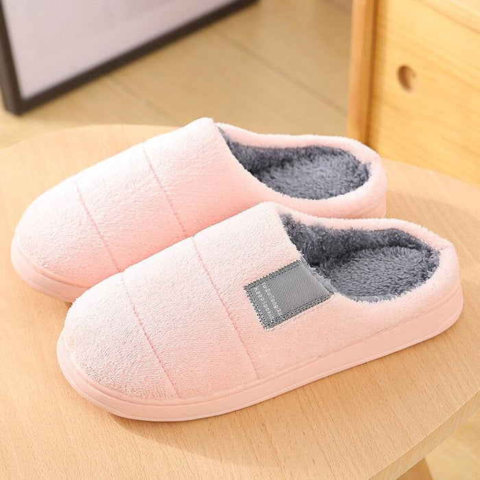 Women House Solid Color Fur Flats Home Slippers - Pink / US 5 - home shoes