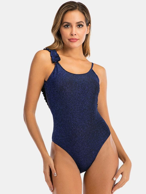 Women Swimsuit Solid Single Flounce Trim Straps Backless Plus Size One Piece - Plus Size One Piece