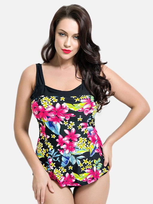 Women Swimwear Plus Size Floral Backless Patchwork Push Up One Piece - Plus Size One Piece
