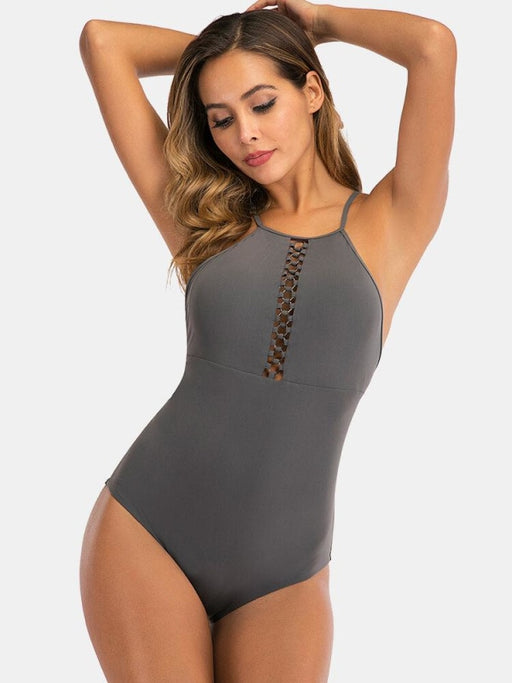 Women Swimwear Plus Size High Neck Criss-Cross Backless One Piece - Plus Size One Piece