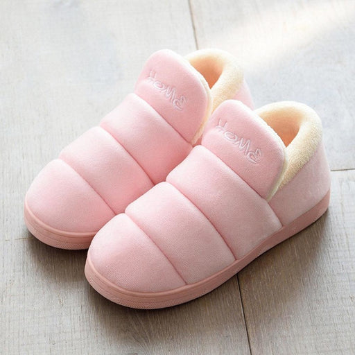 Women Winter Indoor Solid Color Warm Lining Slippers - home shoes