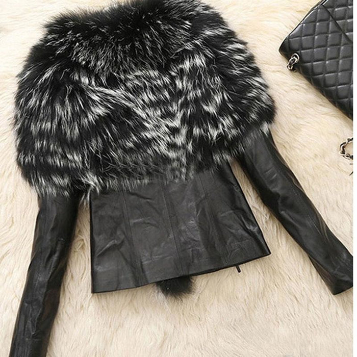 Womens Basic Winter Short Fur Coat - S / Black - womens furs & leathers