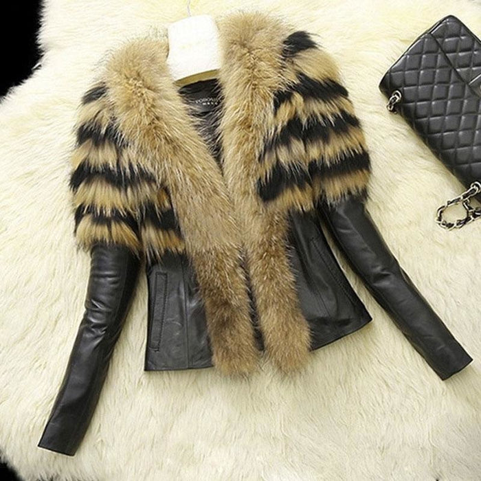 Womens Basic Winter Short Fur Coat - S / Yellow - womens furs & leathers