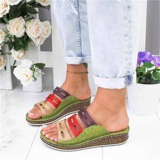 Women's Beach Slippers 2020 Summer Women Lady Retro Stitching ColorCasual Low Beach Open Peep Toe Sandals 3 colors Shoes Slides - house
